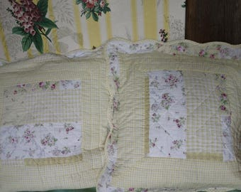 two vintage quilted cushion covers 18x18 inches