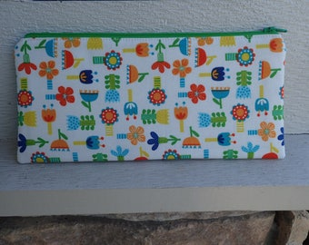 Medium Zipper Pouch, Pencil Case, Gadget Case, Coin Purse, Case for Knitting Notions - Notions Pouch - Gift for a Knitter - Happy Flowers