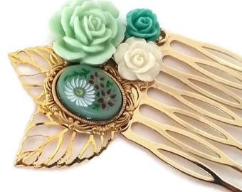 Green Flower Cameo Hair Comb-Fashion Accessory-Golden Hair Comb-Wedding Comb-Bridal Hair-Victorian Regency-Mint Green Rose-Floral Hair Comb