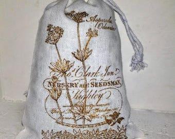 Milk Weed Seed Packet Lavender Sachet   - White Cotton Drawstring  Lavender Sachet Bag