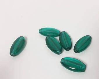 6 Vintage German Glass Green Beads - 12 mm - Long Flat Oval - Pretty Pine Green