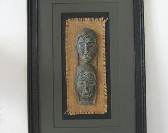 African Art Wall Sculpture Three Dimensional Pair