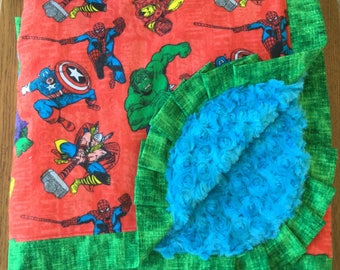 Marvel Comics The Avengers Super Hero Minky Lap Sized Blanket...Ready to Ship