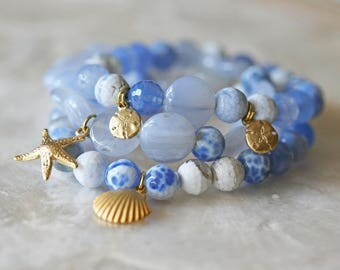 Agate Bracelets - Stretch Bracelets - Stacking Bracelet Sets - Ocean Jewelry- Stackable Jewelry- Starfish - Sand Dollar- Ready to Ship -