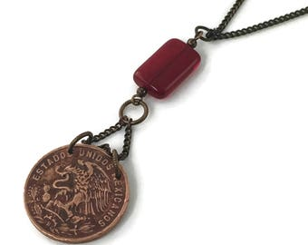 Mexican coin on long chain layering necklaceRed Accent Beads, Coin Necklace, Coin Jewelry (#604)