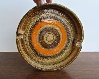 Reserved:  Aldo Londi Large Bitossi Ashtray in Rimini decor with Sahara glaze, Imported through Rosenthal Netter 1950s Original Label