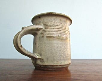 Studio Pottery Mug, Rich Warm-Red Clay w/ Pebbled Rustic-Celadon Glaze & Gorgeous Signature