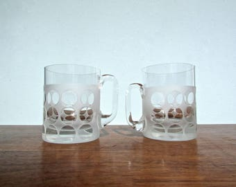 Groovy Vintage-Modern Cased-Frosted & Cut Glass Crystal Mugs, MCM Barware, Set of 4