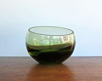 Domnhall O'Broin, Caithness Glass Company of Scotland, Smoky-Green Globe Glass Vase, CG Scotland, VERY COOL 1960s Art Glass
