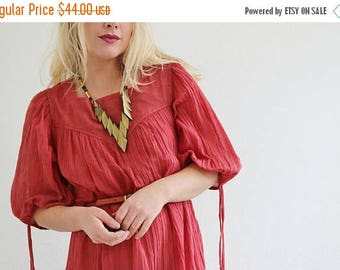 ON SALE 1970s Terra Cotta Dress /// Size Small to Large