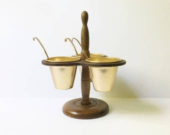 relish caddy condiment server wooden copper relish tray Relish cart