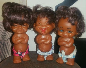 3 Hawaiian Crying Laughing Rubber Doll Collectible Kitschy Taiwan Crybaby Toy