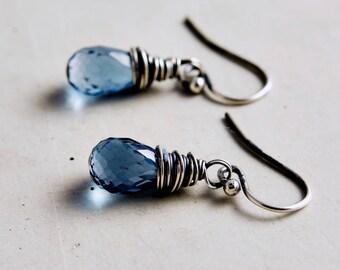 Topaz Drop Earrings, Blue Topaz Jewelry, London Blue Topaz, PoleStar Jewelry