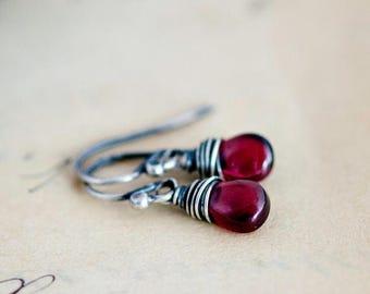 Summer Sale Garnet Earrings, Drop Earrings, Wire Wrapped, January Birthstone, Sterling Silver, Dark Red, Garnet Jewelry, Dangle Earrings, Po