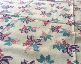 Feedsack Fabric. Opened Feedsack. Turquoise. Purple. Pink. Good.