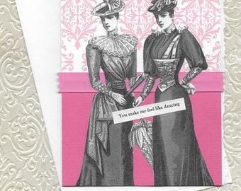 Sweet Pink Love Card for Lesbian Couples - You Make Me Feel Like Dancing