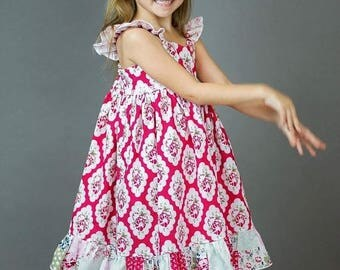 ON SALE Girls Red and White Twirl Dress with Ruffle - Red and White Floral Dress - Red and White Girls Dress