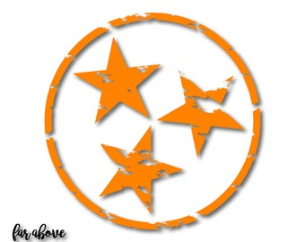 Tristar Lightly Distressed State of Tennessee Tn Tri-Star SVG, EPS, DXF, png, jpg digital cut files for Silhouette Cricut Rocky Top Grungy
