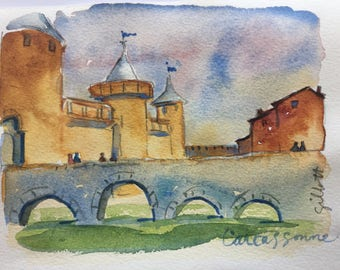 Towers of Carcassonne; original watercolor #6