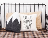 Mountain Adventure Nursery, Little Man Cave, Boys Room, Nursery Pillow, Explore, Forest Theme, Hand drawn, 16 x16, Trees, Handwritten