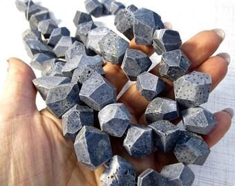 20% OFF SALE Blue Sponge Coral Beads Nugget Geodesic Gemstones, 15mm x 20mm Nugget Beads