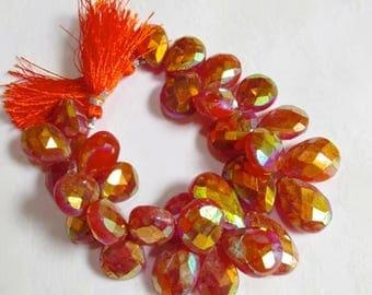 20% OFF SALE Fiery Mystic Carnelian Briolette  Beads , 1/2 Strand 18mmTo 25mm 631 Carats