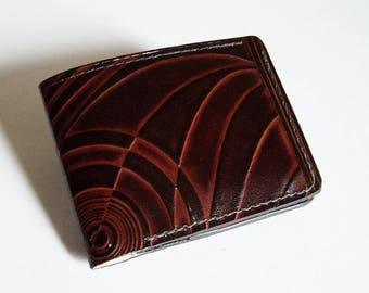 "Leather Wallet - Thin Bi-fold with Deco Design - Men's Leather Wallet - ""A"" Style Interior"
