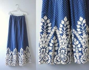 Vintage Mod 70s Blue Polka Dot Wide Leg Summer Pants S