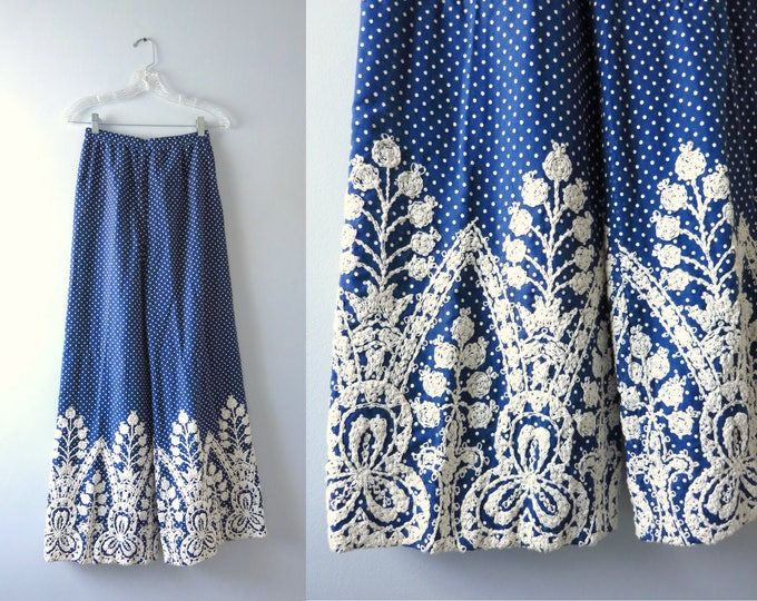 Vintage Mod 70s Blue Polka Dot Wide Leg Summer Pants S