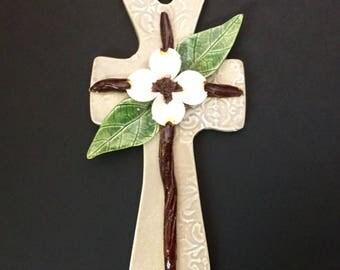 Handmade Ceramic Dogwood Flower Cross