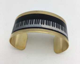 Piano Keys Bracelet Piano Cuff Decoupage Cuff Bracelet musical bracelet black and white with gold leaf