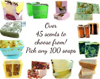 100 very unique assorted vegan handmade soaps. GREAT FOR GIFTS, Wedding Favors, Corporate Gifts And Special Events.