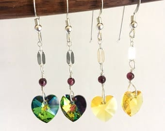 Swarovski Crystal. Heart Earrings. Garnet. Sterling Silver.