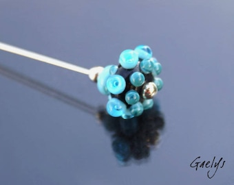 Kipling - Scarf / hat clip - Fibule - Lampwork / Sterling silver - Turquoise bubble pearl / black background