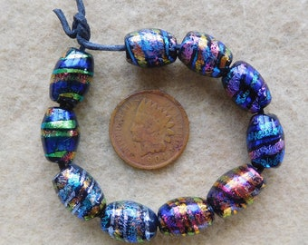5 Pairs Bright Assorted Oval  Dichroic Collage Lampwork Beads Handmade by Dee Howl Beads