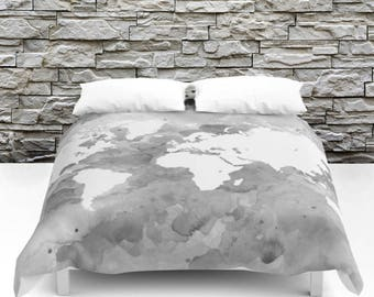 World map bedding etsy duvet cover bedding modern bedspread design 49 world map gray grayscale white art by lucie dumas gumiabroncs Gallery