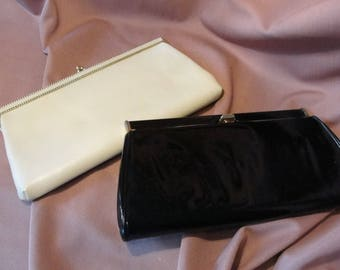 Two vintage clutch purses one Cream color one Black patent