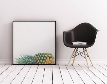 Tropical Print, Retro Pineapple Wall Art, Minimal Kitchen Wall Decor - Fallen Pineapple