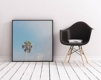 Palm Tree Print, Tropical Print, Retro Wall Art - Lone Palm