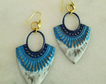 Ombre Navy Blue, Sky Blue, White Patina Earrings, Nautical, Bohemian Dangles, Brass Hoops, Distressed, Summer Jewelry