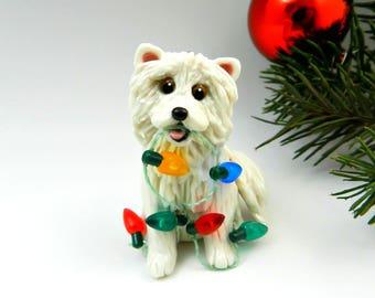 Samoyed Dog Christmas Ornament Figurine Porcelain Clay Lights