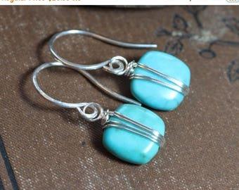 SALE Turquoise Earrings Silver Wire Wrapped Gemstone Earrings Blue Earrings
