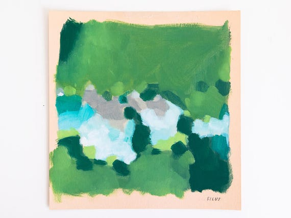 Small Abstract Art - Original Abstract Landscape Painting on Paper