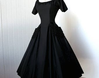 vintage 1950's dress ...dior's new look SUZY PERETTE new york black with ball fringe trim full CIRCLE pin-up cocktail party dress