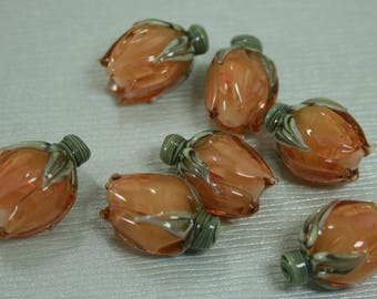 Peach Rosebud Handmade Lampwork Flower Beads SRA FHF