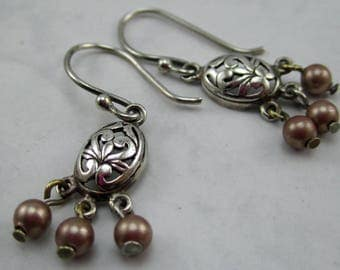 Sterling Silver and Swarovski Pearl Earrings