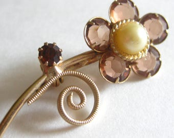Pearl Pink Glass Daisy Flower Brooch Pin Amber Stemmed Vintage