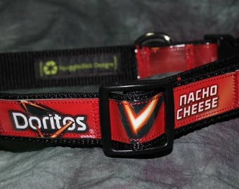 Adjustable Dog Collar from recycled Dorito's Nacho Cheese Chip Bags