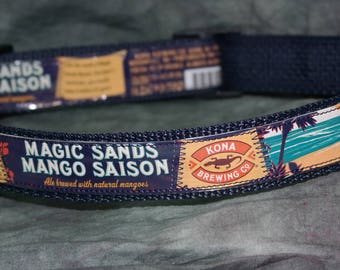 Aloha!! Adjustable Dog Collar from Recycled Kona Magic Sands Mango Saison Beer Labels