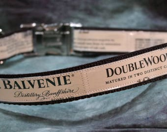 Adjustable Dog Collar from Recycled Balvenie Distillery 12 Year Old Doublewood Whisky Labels
